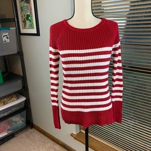 Loft red & white striped sweater